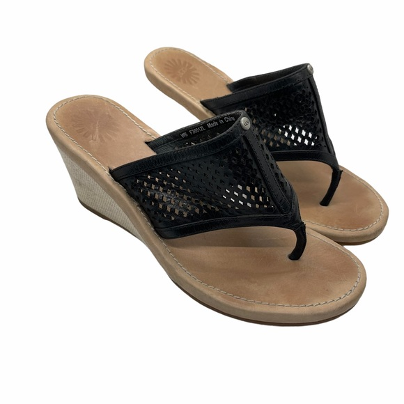 Ugg black perforated leather wedge sandals